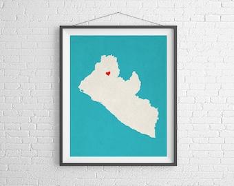 Custom Liberia Silhouette, Customized Country Map Art, Personalized Gift, Liberia Art, Liberia Print, Heart Map, Home Country Liberia Map