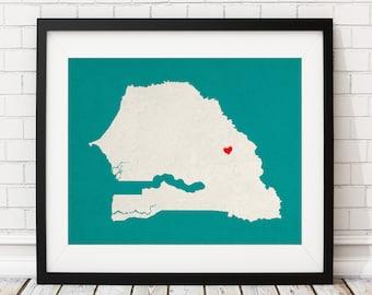 Custom Senegal Silhouette Print, Customized Country Map Art, Personalized Gift, Senegal Art, Heart Map, Senegal Map, Home Country Love