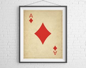 Ace of Diamonds, Playing Card Art, Game Room Decor, Game Room Art, Poker Gifts, Gambling Gift, Office Wall Art, Man Cave Art, Bar Decor