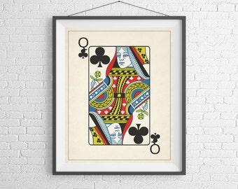 Queen of Clubs, Playing Card Art, Game Room Decor, Game Room Art, Poker Gifts, Gambling Gift, Office Wall Art, Man Cave Art, Bar Decor