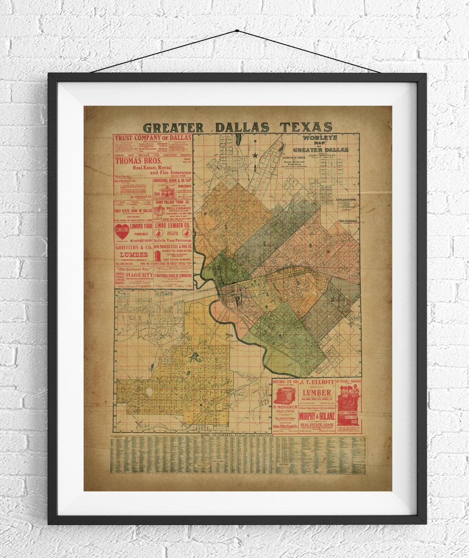 Greater Dallas Map.1905 Dallas Map Print Vintage Map Art Antique Map Dallas Wall Art