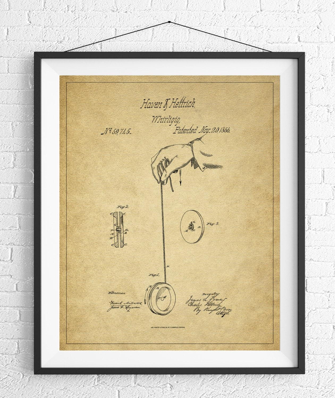 Yoyo Patent Print, Game Room Art, Toy Art, Blueprint, Vintage Patent ...