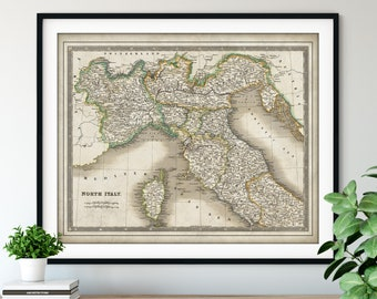 1844 North Italy Map Print - Vintage Map Art, Antique Map, Old Map Poster, Italian Wall Art, Corsica, Naples, Tuscany, Sardinia, Milan, Nice