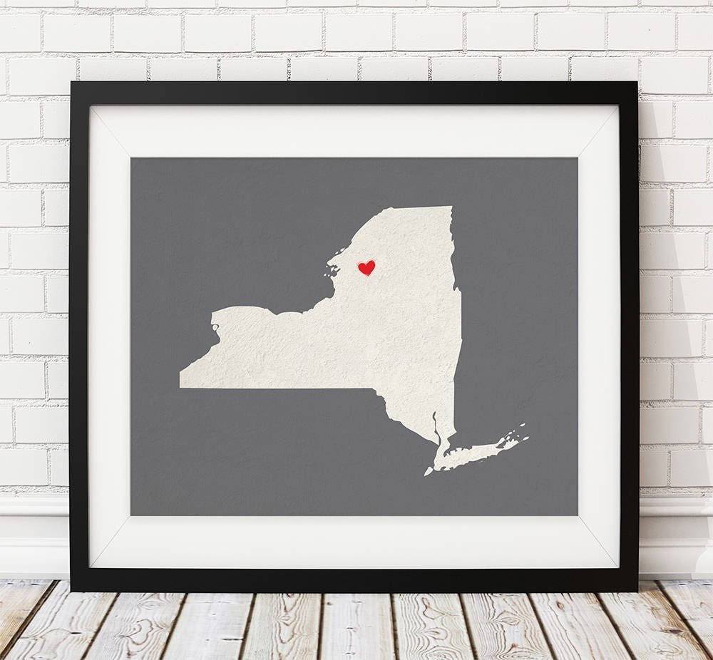 Custom New York State Art, Customized State Map Art, Personalized ...