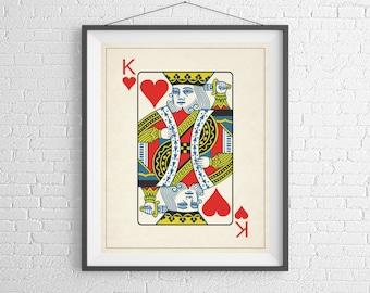 King of Hearts, Playing Card Art, Game Room Decor, Game Room Art, Poker Gifts, Gambling Gift, Vintage Wall Art, Man Cave Art, Bar Decor