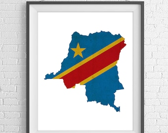 Democratic Republic of Congo Flag Map Print, Congo Map, Congo Silhouette, Housewarming Gift, Vintage Flag Poster, Wall Art, Map of Congo