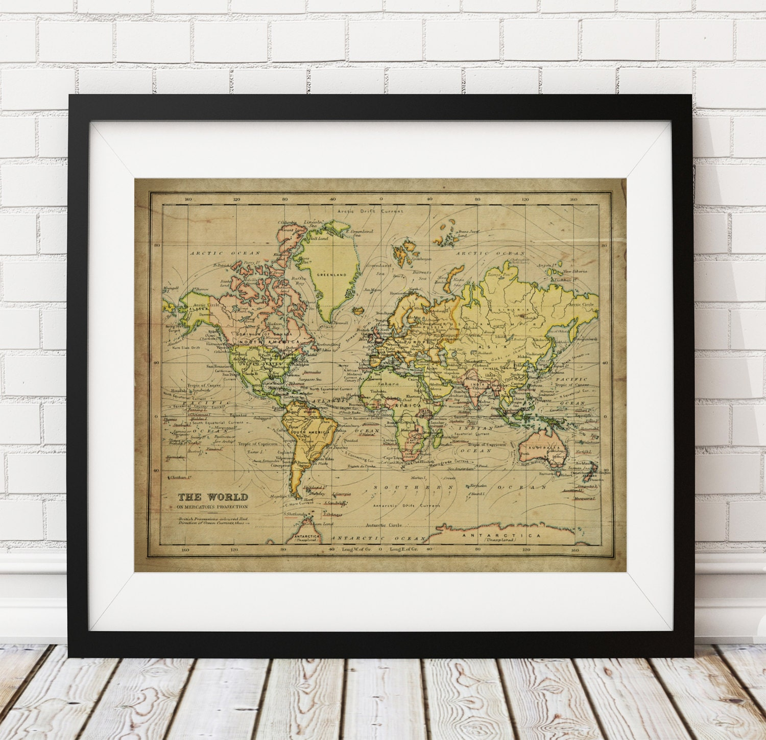 1899 World Map Print, Vintage Map Art, Antique Map Wall Decor ...