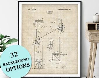 Tightwire Patent Print - Customizable Blueprint Plan, Tightrope Walking Decor, Carnival Stunt Performer Poster, Circus Act Art, Acrobat Gift