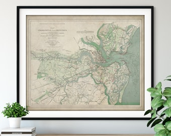 1895 Charleston SC Civil War Defenses Map Print - Vintage Confederate Army Battle Map Art, American History Gift, Antique Map, Old Map