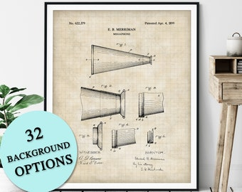 Megaphone Patent Print - Customizable Cheerleading Blueprint Plan, Cheerleader Gift, Cheer Poster, Cheerleading Art, Dancer, Coach Gift