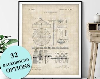 Circus Tent Patent Print - Customizable Blueprint Plan, Big Top, Carnival Poster, Circus Act Art, Festival Tent, Circus Gift, Circus Print