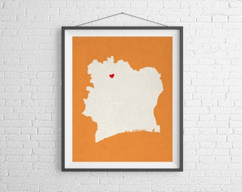Custom Cote D'ivoire Silhouette Print, Customized Country Map Art, Personalized Gift, Heart Map Print, Housewarming Gift, Home Country Love