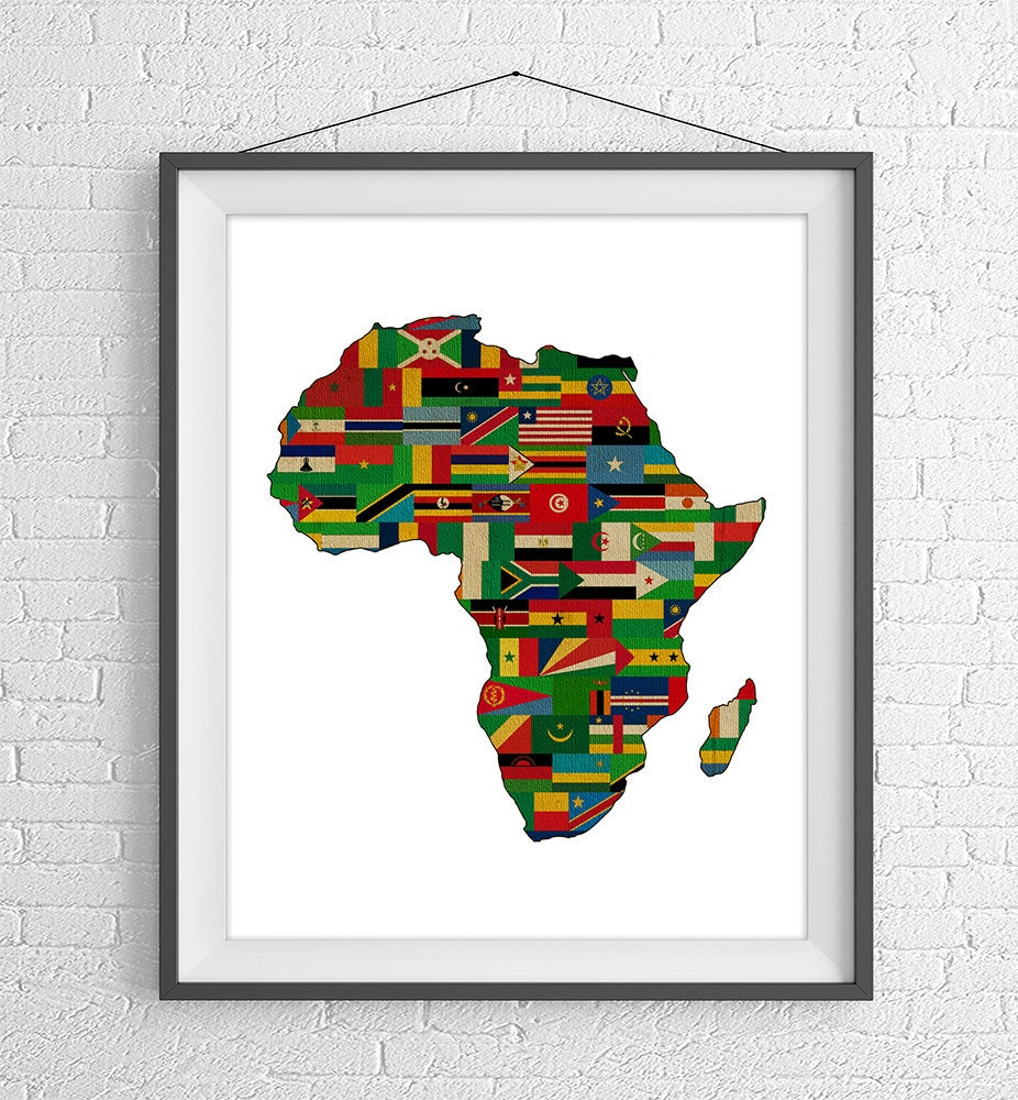 Map Of Africa And Surrounding Countries.African Continent Print Africa Flags Africa Map African Map African