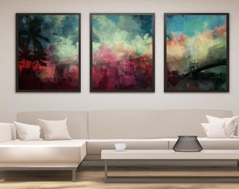 3 pc Abstract Print Set, Panel Art, Panel Wall Art, Abstract Art, Abstract Landscape Painting, Living Room Wall Decor, Large Wall Art