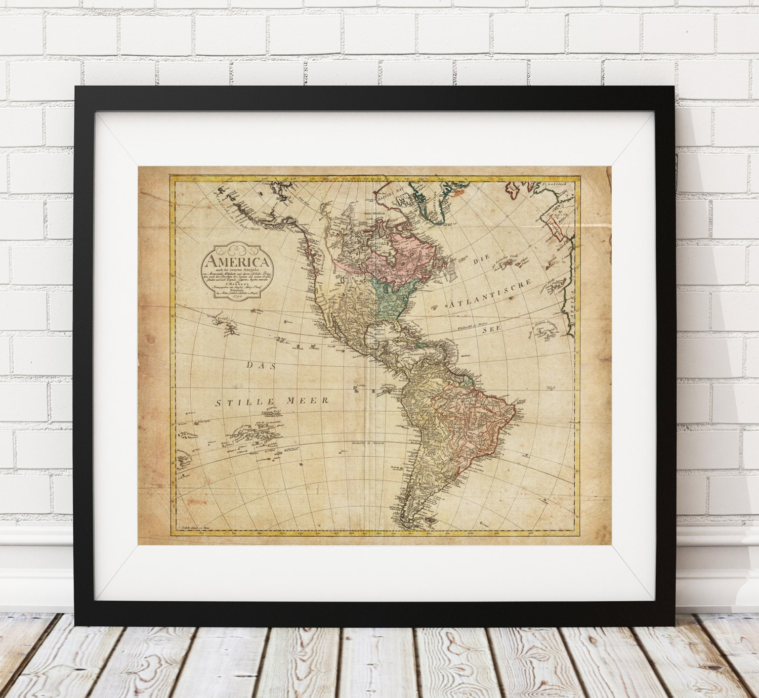 1796 North America Map, South America Map, Vintage Map ...