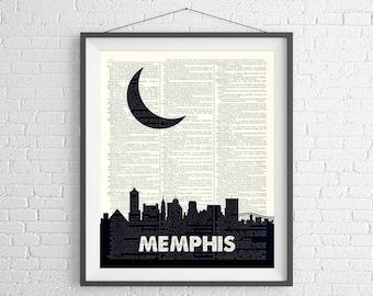 Memphis Skyline Print, Memphis Art, Memphis TN Wall Art, Dictionary Art, City Skyline Wall Art, City Prints, Dictionary Print, Skyline Art