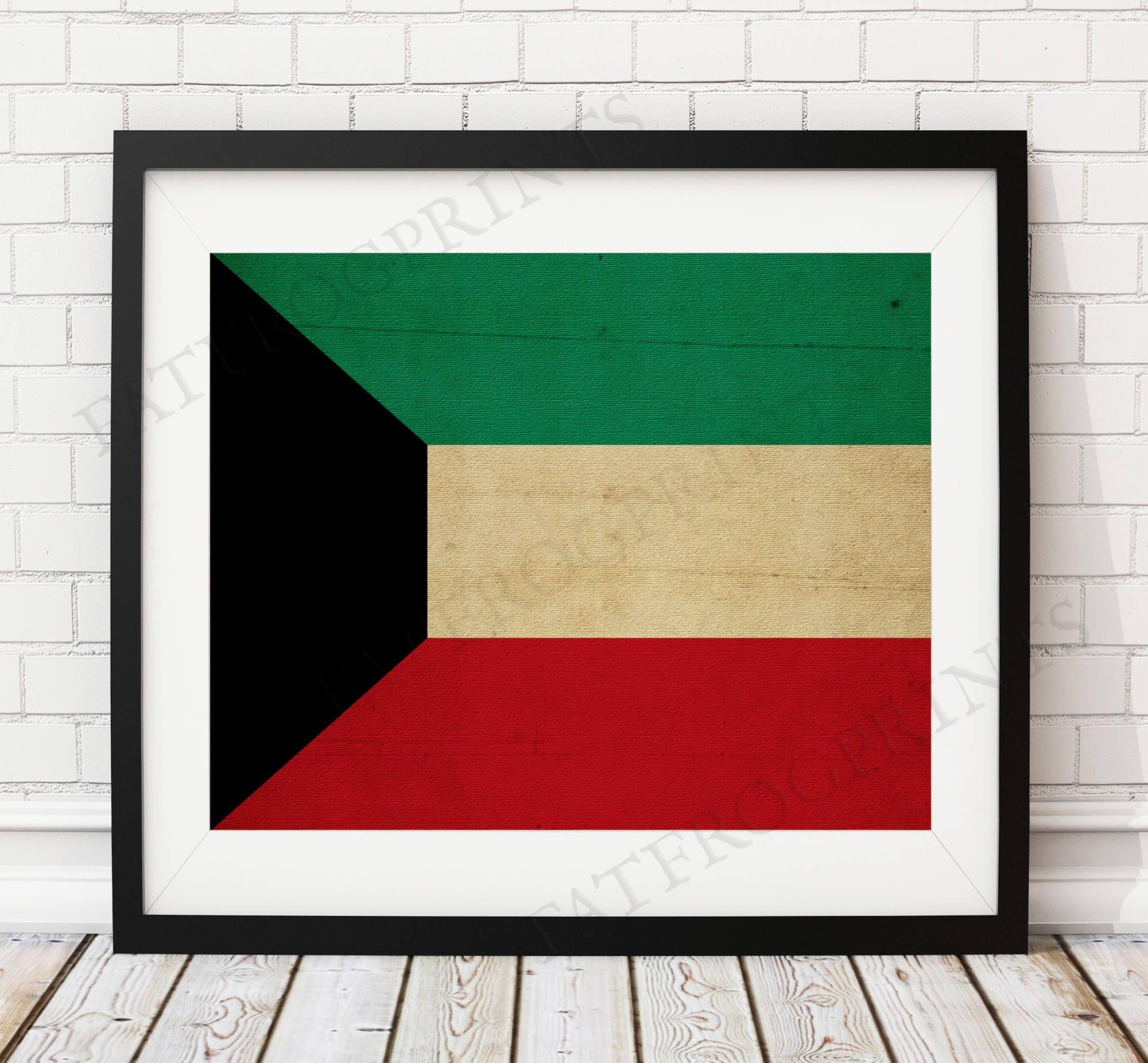 Kuwait Flag Print, Kuwait Flag Art, Kuwait Gifts, Flag Poster