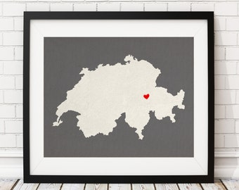 Custom Switzerland Silhouette Print, Customized Country Map Art, Personalized Gift, Heart Map Print, Switzerland Map, Home Country Love