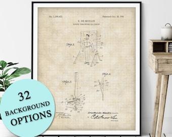 Knife Throwing Illusion Patent Print - Customizable Magic Blueprint Plan, Aspiring Magician Gift, Magic Trick Poster, Magic Art, Sideshow