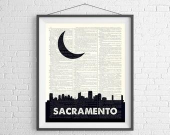 Sacramento Skyline Print, Sacramento Wall Art, Skyline Wall Art, Dictionary Art Print, City Skyline Art, Sacramento CA Art, Sacramento Print