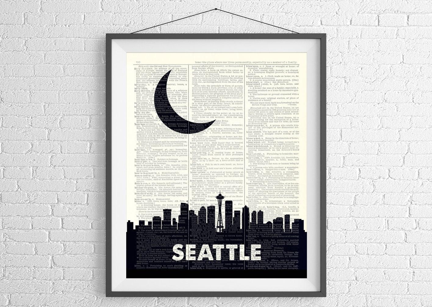 Seattle Skyline Print, Seattle Art, Seattle Wall Art, Dictionary Art ...