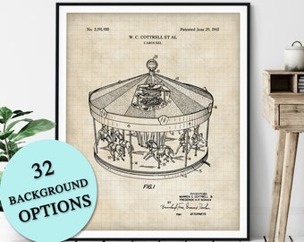 Carousel Patent Print - Customizable Merry Go Round Blueprint Plan, Vintage Circus Poster, Kids Room, Carnival Art, State Fair Wall Art
