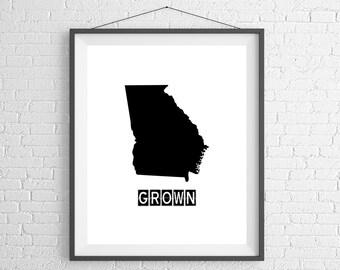 Georgia Grown Print, Georgia Art, Georgia Print, Home Grown, State Art, Georgia Gifts, Georgia Map, State Silhouette, Housewarming Gift