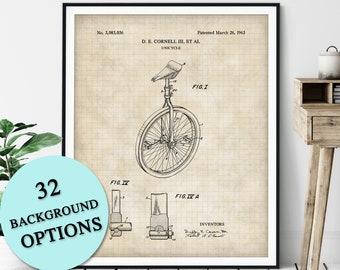 Unicycle Patent Print - Customizable Blueprint Plan, Carnival Poster, Circus Act Art, Circus Gift, Circus Print, Clown, Street Performer