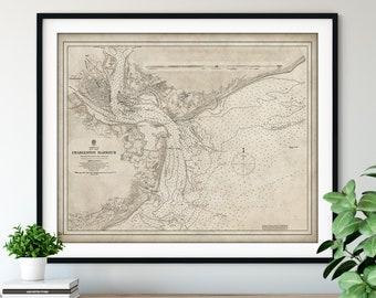 1882 Charleston Harbor, SC Map Print - Vintage Map Art, Antique Map, Old Map Poster, Atlas Wall Art, Sullivans Island, Folly, Morris, James