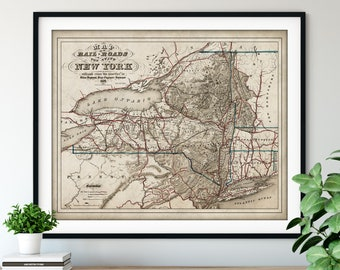 1857 New York Railroad Map Print, Vintage NY State Map Art, Antique New York Map, Old Map, Railway Map, Train Gifts, Locomotive Wall Art