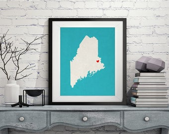 Custom Maine State Art, Customized State Map Art, Personalized Gift, Maine Art, Heart Map, Maine Map, Hometown Love Map, Maine Print