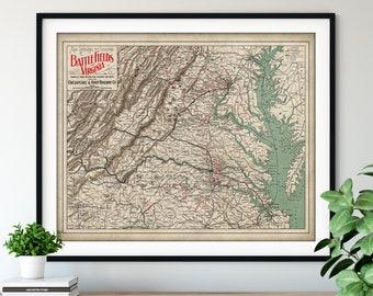 1892 Battlefields of Virginia Map Print - Vintage Civil War Battle Map Art, American History Gift, Antique Map Wall Art, Old Map Poster