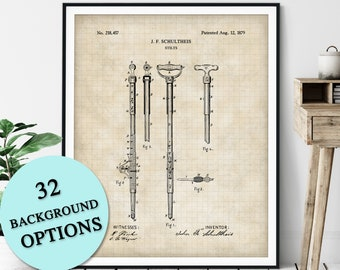 Stilts Patent Print - Customizable Blueprint Plan, Stilt Walker Print, Carnival Stunt Performer Poster, Circus Act Art, Artwork Gift