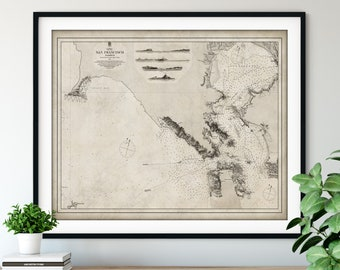 1863 San Francisco Harbour Map Print, Vintage California Map Art, Antique Map Wall Art, Old Map Poster, Sailing Gift, Harbor Nautical Chart