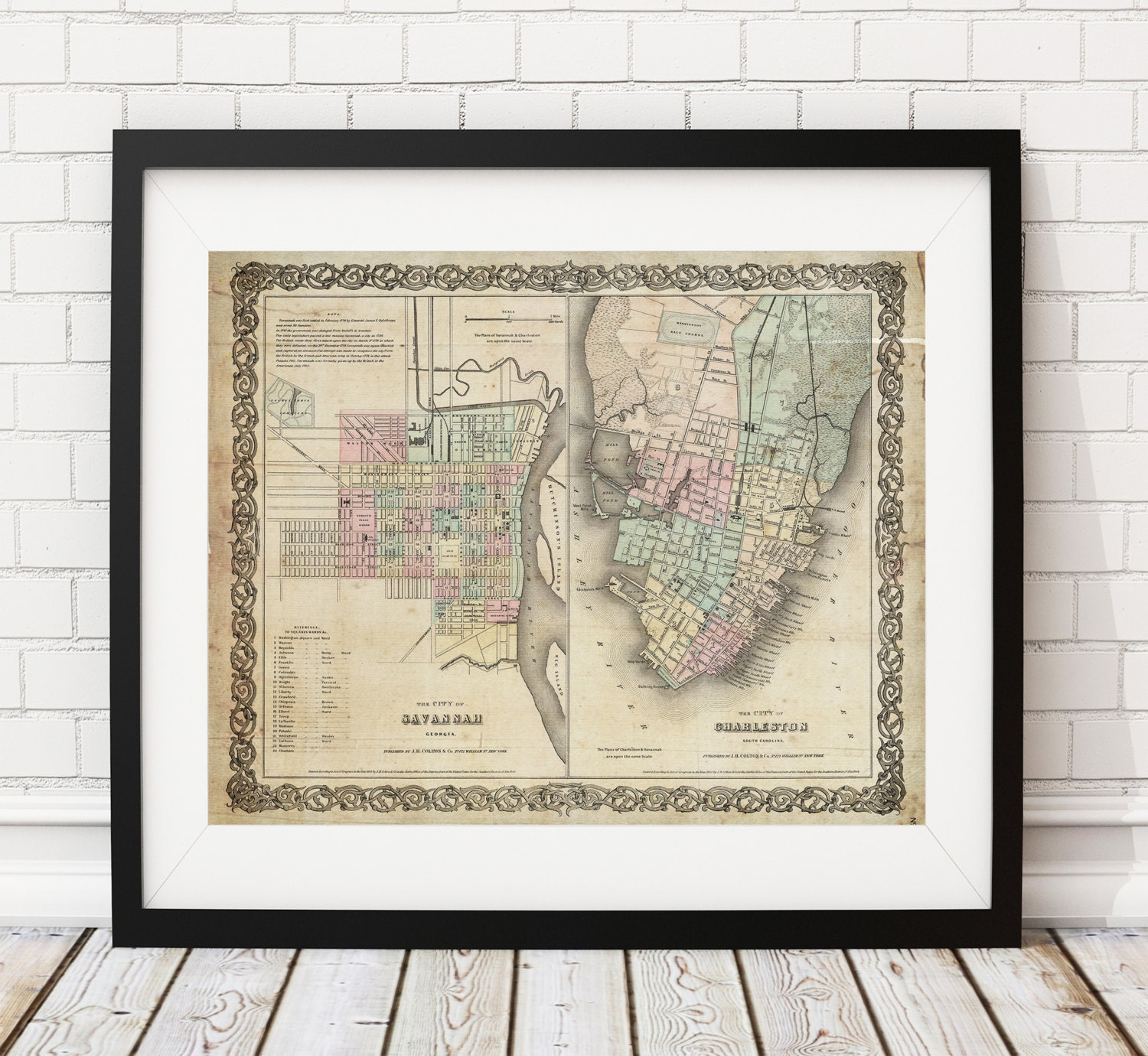 Savannah South Carolina Map.Charleston Map Savannah Map Vintage Map Art Antique Map Print