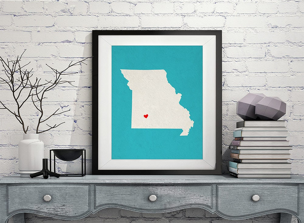 Custom Missouri State Art, Customized State Map Art, Personalized