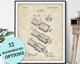 Human Cannon Ball Patent Print - Customizable Blueprint Plan, Cannonball Canon Ball, Carnival Stunt Performer Poster, Circus Act Art, Gift