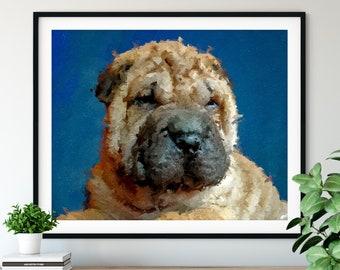 Shar Pei Print, Fawn Shar Pei Art, Shar Pei Gifts, Dog Portrait, Cute Pet Oil Painting, Dog Lover Gift, Dog Decor, Dog Dad Wall Art, Hallway