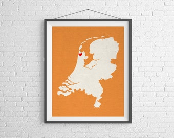 Custom Netherlands Silhouette Print, Customized Map Art, Personalized Gift, Heart Map Print, Netherlands Map, Home Country Love, Amsterdam