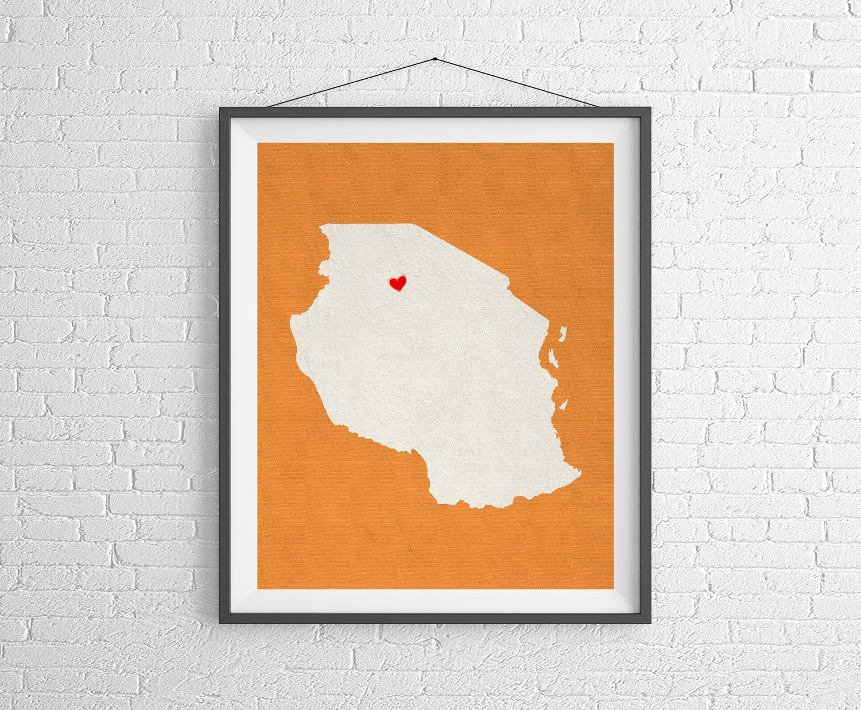 Map Of Africa Art.Custom Tanzania Silhouette Print Customized Map Art Etsy