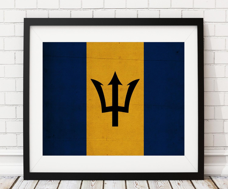 Barbados Flag Art Barbados Flag Print Flag Poster Country | Etsy
