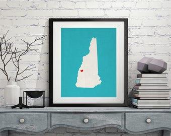 Custom New Hampshire State Art, Customized State Map Art, Personalized, New Hampshire Art, Heart Map, New Hampshire Map, New Hampshire Print
