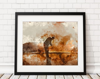 Golf Print, Golf Watercolor Painting, Golf Art, Golf Artwork, Gifts for Dad, Man Cave, Gifts for Him, Golf Gifts for Men, Office Wall Art