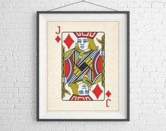 Jack of Diamonds, Playing Card Art, Game Room Decor, Game Room Art, Poker Gifts, Gambling Gift, Office Wall Art, Man Cave Art, Bar Decor