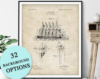 Ships Rigging Patent Print - Customizable Nautical Blueprint, Sailboat Plan, Sailor Gift, Sailing Poster, Coastal Art, Maritime Wall Decor
