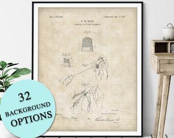 Thread Cutting Thimble Patent Print - Customizable Sewing Blueprint Plan, Designer Gift, Dressmaker Art, Seamstress Wall Decor, Tailor Gift