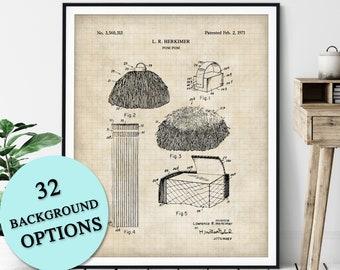 Pom Pom Patent Print - Customizable Cheerleading Blueprint Plan, Cheerleader Gift, Cheer Poster, Cheerleading Art, Dance Coach Gift, Pom Pon