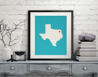 Custom Texas State Art, Customized State Map Art, Personalized Gift, Texas Art, Heart Map, Texas Map, Hometown Love Map, Texas Print