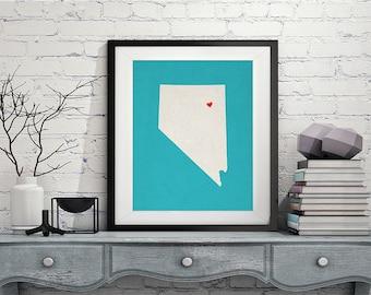Custom Nevada State Art, Customized State Map Art, Personalized Gift, Nevada Art, Heart Map, Nevada Map, Hometown Love Map, Nevada Print