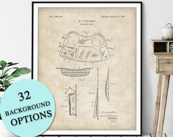 Fishing Vest Patent Print - Customizable Fisherman Vest Blueprint Plan, Fishermens Gift, Gifts for Dad, Fisher Poster, Fish Angling Wall Art